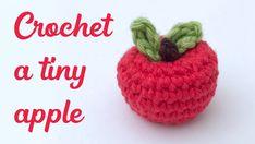 Crochet Apple – Free Mini Amigurumi Pattern – Stella's Yarn Universe – Amigurumi Free Pattern İdeas. Crochet Apple, Crochet Fruit, Crochet Leaves, Crochet Food, Crochet Dolls, Free Crochet, Crochet Game, Irish Crochet, Crochet Flower Tutorial