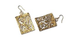 Large Dangle Rectangular Textured Earrings  Gold plated by GoldDa, $29.90