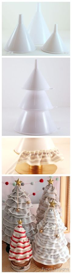 DIY Christmas Tree cones for ONLY 99¢. No more pricy styrofoam! from fynesdesigns.com #holidayideaexchange