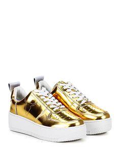 Windsor Smith - Sneakers - Donna - Sneaker in pelle specchiata con suola in gomma, tacco 50, platform 35 con battuta 75. - GOLD - € 158,00