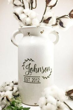 Fixer upper inspired milk jug vase with last name personalization! This vintage milk jug\Farmhouse Style Home Decor piece is the perfect touch for your farmhouse style decor! #ad #homedecor #farmhouse