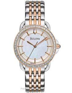 Bulova Ladies 24 Diamond Two-Tone Dress Watch - Mother-of-Pearl Dial