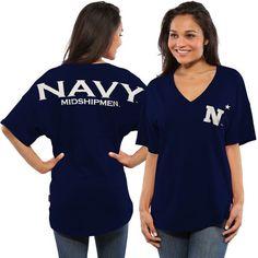 Navy Midshipmen Women's Spirit Jersey Oversized T-Shirt - Navy - $49.99