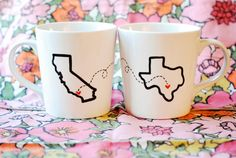 State or Country Heart Mugs-Going Away Present, Going Away Gift, Moving Away, Long Distance Relationship, Adoption Customize by Etsy Long Distance Mugs, Long Distance Relationship Gifts, Distance Relationships, Distance Gifts, Relationship Quotes, Fun Crafts To Do, Diy Crafts, Noel Christmas, Christmas Gifts