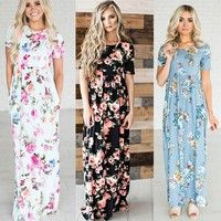 Wish | New Women BOHO Long Evening Party Cocktail Prom Floral Summer Beach Maxi Dress