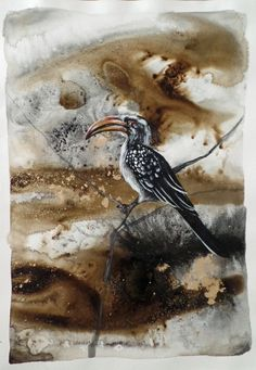 Uncaged IV (Hornbill) - Painting by Liffey Joy Mixed Media Painting, Bird Art, Figurative Art, Online Art Gallery, Art For Sale, Paper Art, Joy, Abstract, Artist