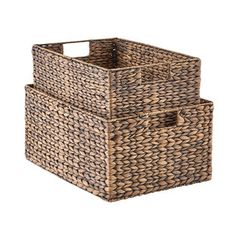 Front hall closet Container Store - Mocha Water Hyacinth Storage Bins with Handles Toy Storage Bins, Wire Storage, Fabric Storage Bins, Plastic Storage, Storage Baskets, Storage Ideas, Storage Cubes, Baskets For Shelves, Water Hyacinth