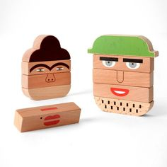 Create the funniest faces with these gorgeous wooden toys by Shusha