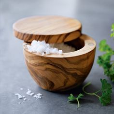 One of my favorite kitchen tools. Olive Wood Salt Keeper from Williams-Sonoma.