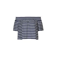 TopShop Stripe Smock Bardot Blouse found on Polyvore featuring tops, blouses, shirts, navy blue, off the shoulder tops, off shoulder blouse, ruffled shirts blouses, navy blouse and rayon shirts