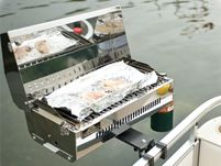 Rail Mount Propane Grill: your boat becomes idle for cookouts and parties.