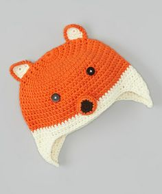 Loving this Orange & White Fox Earflap Beanie on #zulily! #zulilyfinds