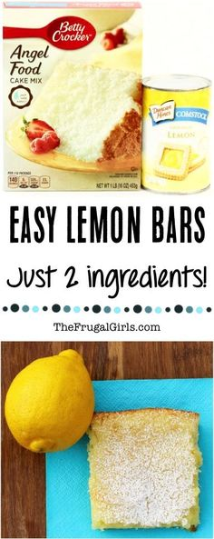 {Easy and Just 2 Ingredients} Easy Lemon Bars Recipe! Just 2 Ingredients and SO delicious! Recipe at Easy Lemon Bars Recipe! Just 2 Ingredients and SO delicious! Recipe at Cake Bars, Dessert Bars, Köstliche Desserts, Delicious Desserts, Dessert Recipes, Angel Cake, Angel Food Cakes, 2 Ingredient Recipes, Two Ingredient Lemon Bars Recipe