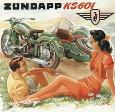 Vintage Motorcycles Classic Zuendapp Motorcycles Sidecar Model 1951 - Mad Men Art: The Vintage Advertisement Art Collection - Zuendapp Motorcycles Sidecar Model 1951 - Mad Men Art: The Vintage Advertisement Art Collection