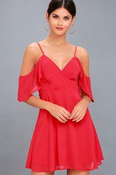 b6e93116c969 Cosmopolitan Red Off-the-Shoulder Skater Dress
