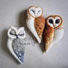 needle felted OWL BROOCH by The Lady Moth grey felt owl