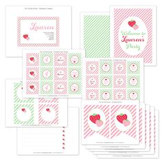 Sweet Strawberry Printable Party Collection - The TomKat Studio