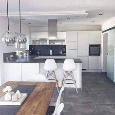 Aufteilung der Küche Distribution of the kitchen - room Kitchen Room Design, Modern Kitchen Design, Home Decor Kitchen, Kitchen Living, Kitchen Interior, Home Kitchens, Basement Kitchen, Kitchen Small, Coastal Interior