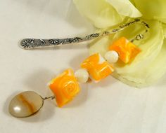 Orange glass beaded bookmark with agate accent charm  Book Lover Gift  Trending Items (9.95 USD) by EnchantedRoseShop