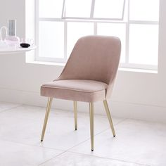 Mid-Century Upholstered Dining Chair - Velvet #PinkChair #ChairFabric