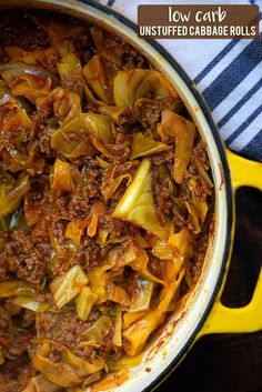 This low carb recipe is so hearty and filling but it's super easy too! This low carb recipe is so hearty and filling but it's super easy too! Easy Cabbage Rolls, Unstuffed Cabbage Rolls, Cabbage Rolls Recipe, Cabbage Recipes, Easy Rolls, Low Carb Recipes, Beef Recipes, Cooking Recipes, Healthy Recipes