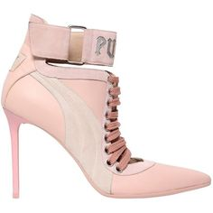 Fenty X Puma Women 120mm Lace Up Leather Ankle Boots ($570) ❤ liked on Polyvore featuring shoes, boots, ankle booties, pink, high heel booties, pink ankle boots, leather ankle boots, leather booties and lace up bootie