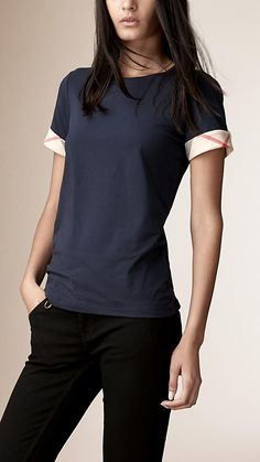 Navy Check Cuff Stretch Cotton T-Shirt Navy - Image 1