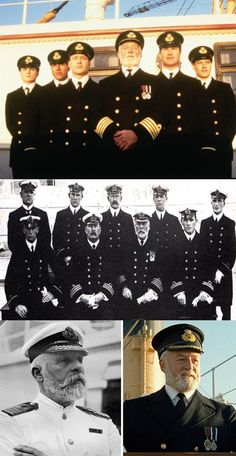 Top picture from the Movie Titanic. Second photo from the real Titanic, last picture Captain Smith of the Titanic and Captain Smith of the Movie Titanic. Rms Titanic, Titanic Film, Titanic Movie Facts, Titanic Wreck, Titanic Photos, The Beatles History, Mystery Of History, Belle Epoque, Titanic Survivors