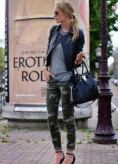 Army pattern, leather jacket, MK bag=Perfect fall day