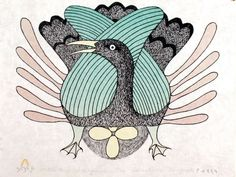 At the Nest, by Kenojuak Ashevak (Inuit artist), 1982 Arte Inuit, Inuit Art, Illustrations, Illustration Art, Madhubani Art, Tlingit, Art Curriculum, Canadian Art, Indigenous Art