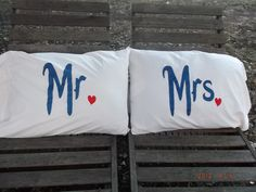 Mr. and Mrs. Hand painted, Standard Pillow Cases - Perfect Couples Gift, Bedroom Decor by TreasuresShop on Etsy