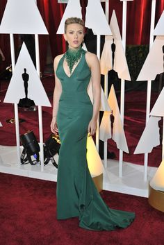 Scarlett Johansson in Atelier Versace and Piaget on the Oscars 2015 Red Carpet. [Photo by Donato Sardella]