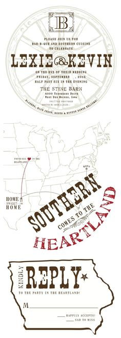 """wedding invitations -- front, back and RSVP cards. """"Southern comes to the Heartland."""" Iowa and Texas combine"""