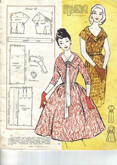 Pattern for style dresses Robes Vintage, Vintage Dresses, Vintage Outfits, Barbie Vintage, Couture Vintage, Diy Fashion, Retro Fashion, Vintage Fashion, Sewing Patterns Free