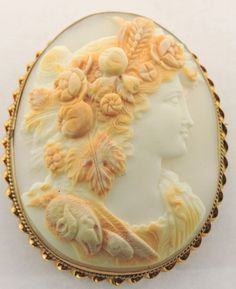 14K YELLOW GOLD CARVED CAMEO BROOCH PIN | eBay                                                                                                                                                                                 More