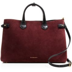 Burberry Large Banner Suede Satchel ($1,995) ❤ liked on Polyvore featuring bags, handbags, suede handbags, satchel purse, burberry satchel, red satchel purse and red handbags
