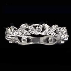 1920s ROUND DIAMOND BEZEL WEDDING BAND FILIGREE RING VINTAGE FLORAL ART DECO