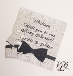 Rustic Personalized Ring Bearer proposal, Ask Ring Bearer, Will You Be Our Ring Bearer puzzle, Ring Bearer Invitation puzzle, wedding card by VintageChicLace on Etsy