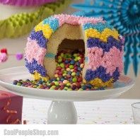 Pinata Cake Mould | Cool People Shop  This special cake pan allows you to bake a cake with a hollow center so you can fill it with assorted candies, chocolates, or even cookies!  It's time to make your own piñata cake without the mess or stress! In order to shut the 2 cake halves shut, simply add a little frosting as the glue.   #piniata #cake #piniatacake #cakemould #cooking #kitchen #baking
