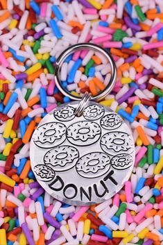 Your dog will love wearing this donut dog tag! This original pet tag is handcrafted at The Dancing Hound's studio, and is perfect for dogs and large cats! Each tag is handmade to order just for you. Cat Id Tags, Pet Tags, Just In Case, Just For You, Personalized Dog Tags, Custom Fonts, Jewelry Polishing Cloth, Pet Collars, Hand Stamped