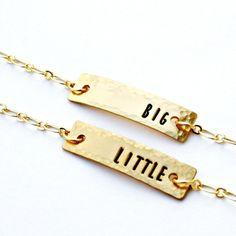 Sororité petit gros Bracelets  argent Sterling par hardweardesigns