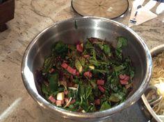 Baby lettuce, radicchio, cubed Genoa salami, cubed soft provolone, olive oil, balsamic vinegar, sugar, sea salt.