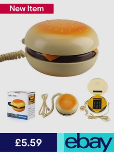 Creative Hamburger Shape Telephone Landline Mini Home Desktop Cable Corded Phone Burger Phone, Telephone, Hamburger, Cord, Cool Stuff, Ebay Mobile, Mobile Phones, Communication, Cable