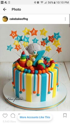 Inspiration Image of First Birthday Cake Boy First Birthday Cake Boy A Colourful Circus Themed First Birthday Cake Featuring An Elephant Toddler Birthday Cakes, Baby First Birthday Cake, Birthday Cake Girls, Cake Baby, 21st Birthday, Pretty Cakes, Cute Cakes, Cake Decorating Frosting, Baby Shower Cakes