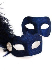 Couple's Navy Blue Venetian Feather Masquerade Masks b