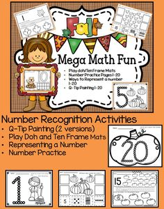 Fall Autumn Number Recognition Math Fun!  If you are not able to use Halloween themed items in your class this set will work perfectly for October and November.