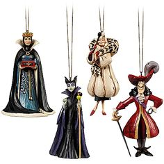 Disney Villains Ornament Set by Jim Shore -- 4-Pc. I only want Maleficent and the Queen.