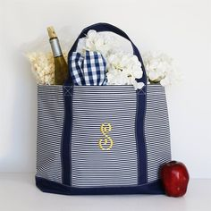 Warmer weather is on its way! Make sure you have this roomy, carryall tote for your days on the go. Add your monogram for that added custom touch.**Please Read Monogram Info**Traditional Monograms are listed as first, LAST, middle initial. Ashley Marie Brown would read as ABM. Please enter the initials in the order you would like them to appear on your item, how they are submitted is how they will be sewn. We are not responsible for items sewn in the incorrect order if it is submit...