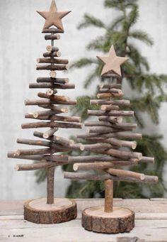 Des petits sapins de Noël à fabriquer soi-même avec des branches et du bois !
