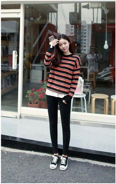 Giant stripes color knit tee korean fashion outfit корейская мода, мода e ж Korean Fashion Ulzzang, Korean Fashion Street Casual, Korean Fashion Winter, Korean Fashion Casual, Korean Fashion Trends, Korean Outfits, Trendy Fashion, Fashion Black, Korean Clothes